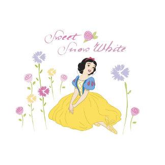 """sweet snow white"" sitting among flowers"