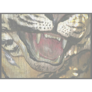 Open tiger mouth statue faded image