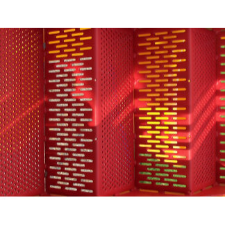Faded Red and yellow steel staircase abstract