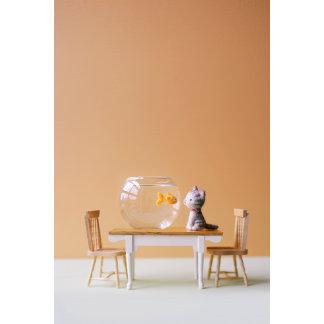 """Felt Cat with Fishbowl Photo Poster Print"""