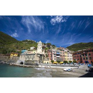 Italy, Cinque Terre, Vernazza, Harbor and Church