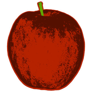 ➢ Red Pop Art Apple with Green Stem