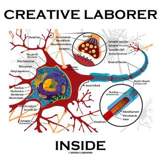 Creative Laborer Inside Neuron Synapse Humor