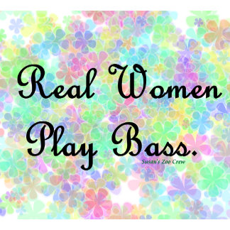 real women play bass, pastel flower background