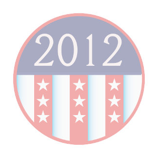 2012 Vote Election Round Seal Red Blue faded