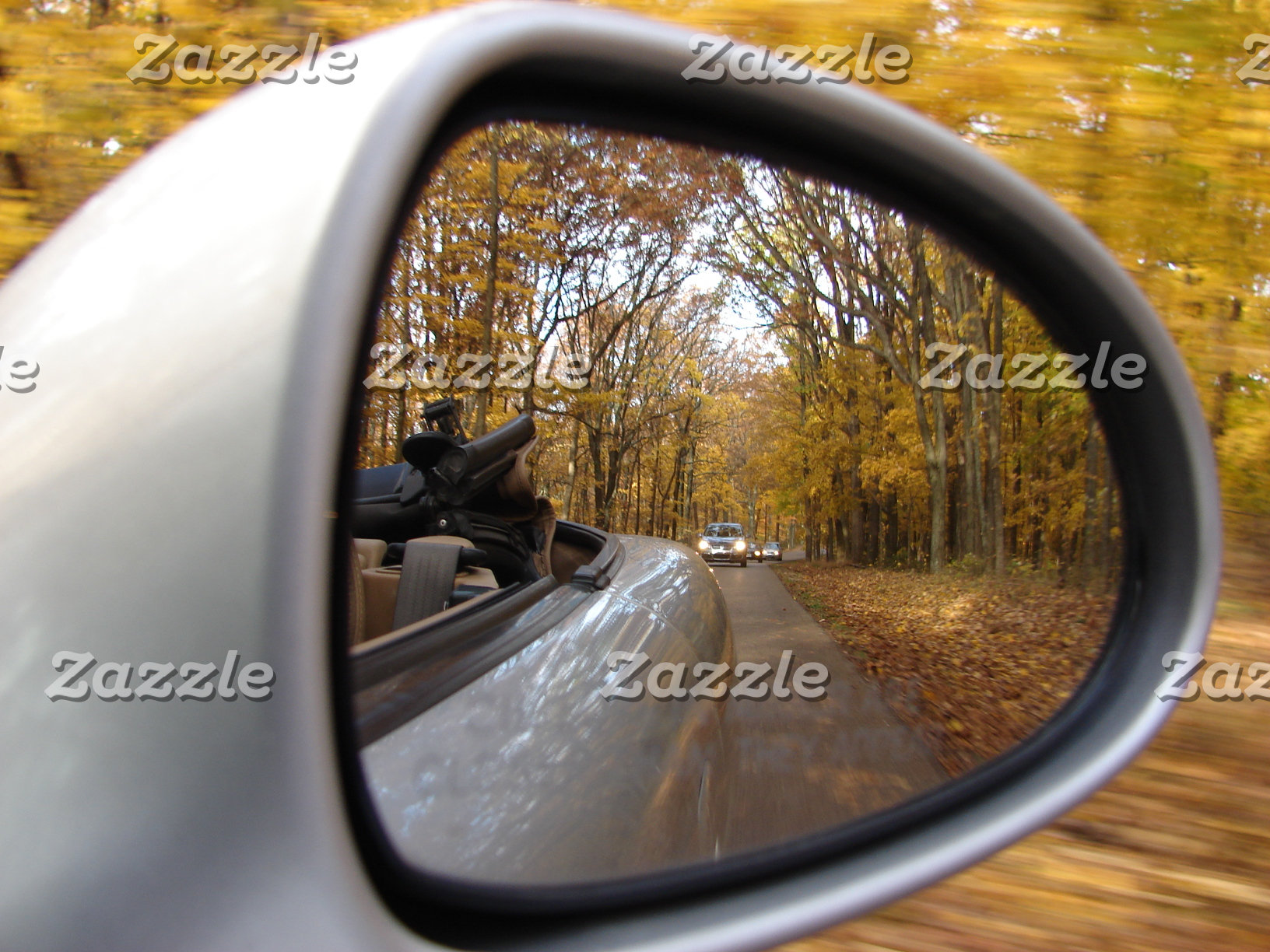 AUTUMN / FALL IN THE REAR VIEW MIRROR SPORTS CAR