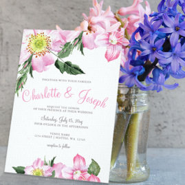 Pink Floral Wedding Invites