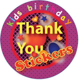Kids Birthday Thank You Stickers
