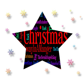 Merry Christmas Star with Snowflakes