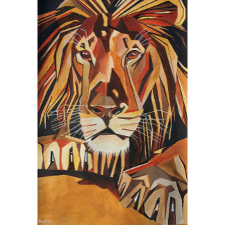 Lion Portrait in Cubist Style
