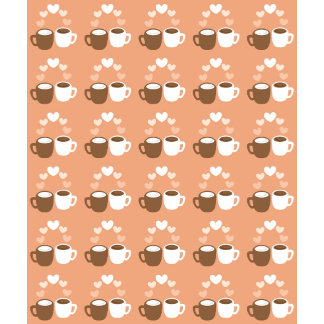 Cute lover coffee cups on peach