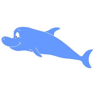 Blue Dolphin on Wavy Pattern