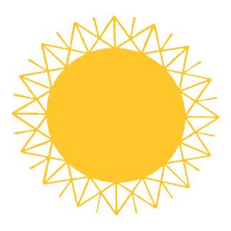 Geometric Orange Sun Sunburst