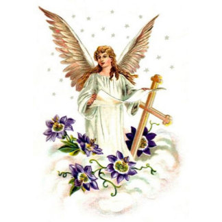 Angel With Cross And Clematis Flowers