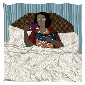Reading in Bed Lady