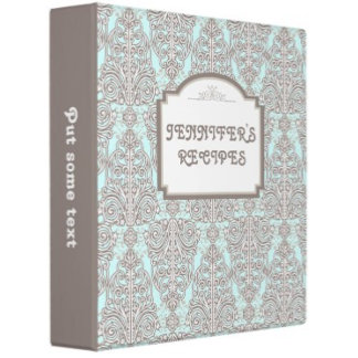 Damask pattern, retro frame recipe binders
