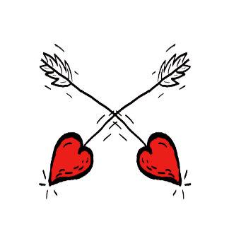 Crossed Strawberry Heart Arrows -