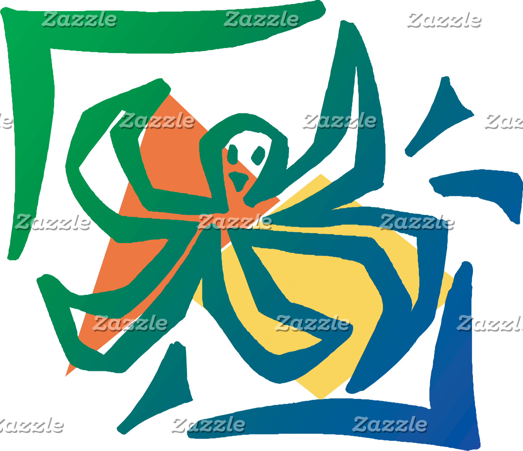 Cute Abstract Octopus T-Shirt Gifts Cards