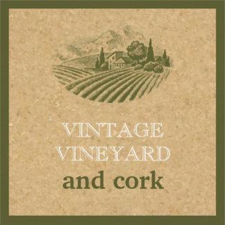 Vintage vineyard and cork