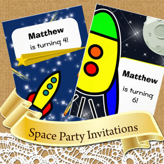 Space theme Invitations