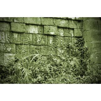 ancient aztec wall replica green tint
