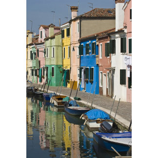 Italy, Venice, Burano. Multicolored houses along
