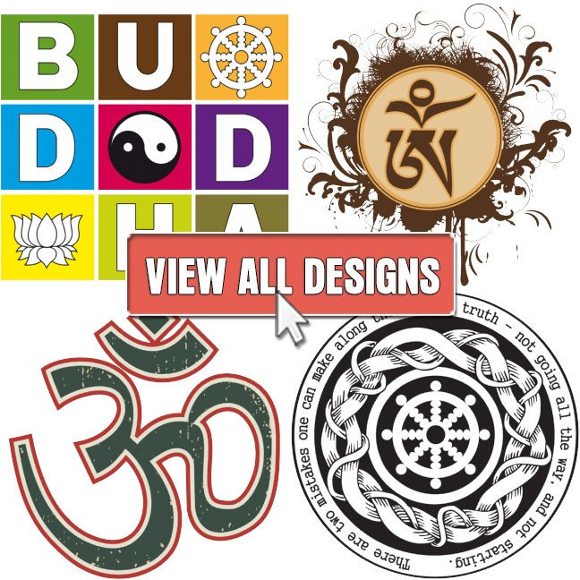 Aum Symbol, Dharma Wheel and Yin Yang Designs