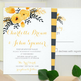 Yellow Gray Floral Wedding Invitations