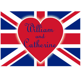 William and Catherine with Union Jack