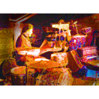 drummer on stage  behind kit artistic