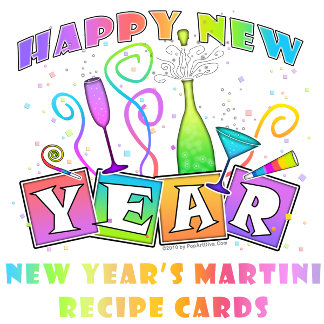 NEW YEAR'S MARTINI RECIPE CARDS