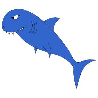 Blue shark on a blue wavy pattern
