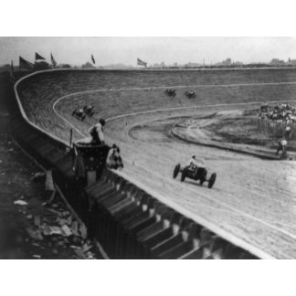 Automobile Racing on Curved Wooden Track