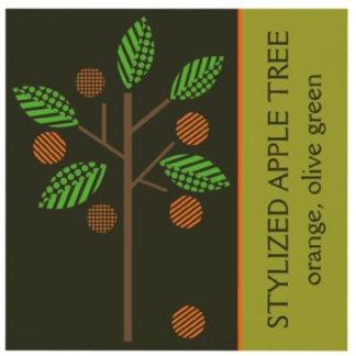 Stylized apple tree orange, olive green
