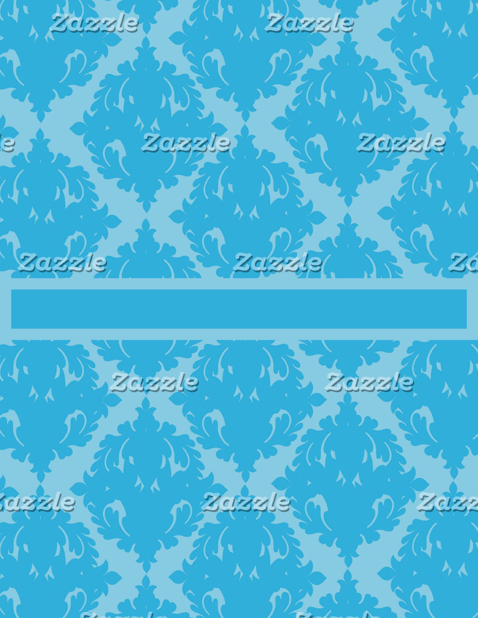 Blue and Light Blue Damask Pattern