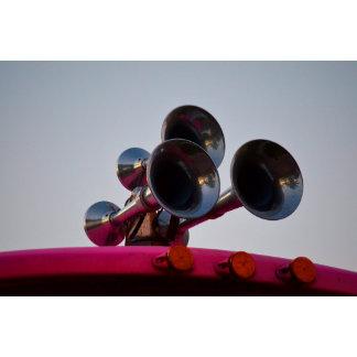 air horns on pink bus car auto
