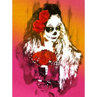 Sugar Skull Woman with Roses Art