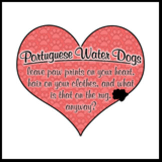 Portuguese Water Dog Paw Prints on Heart Humor