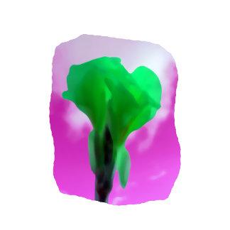 Bright Green Flower Purple Sky watercolor style