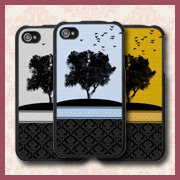 Vector Tree Silhouette Damask iPhone Cases