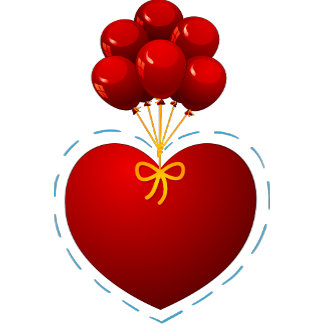 Red heart with balloons