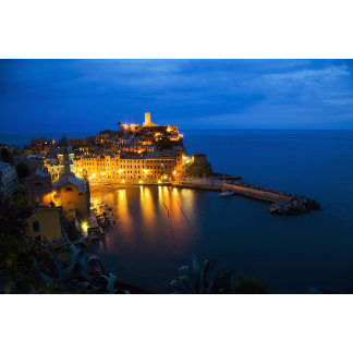 Italy, Cinque Terre, Vernazza, Night View of the