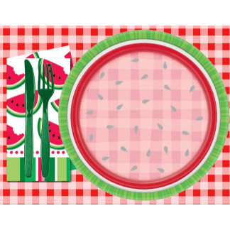 Red and White Watermelon Table Setting