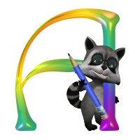 Cute Nerd Raccon Monogram