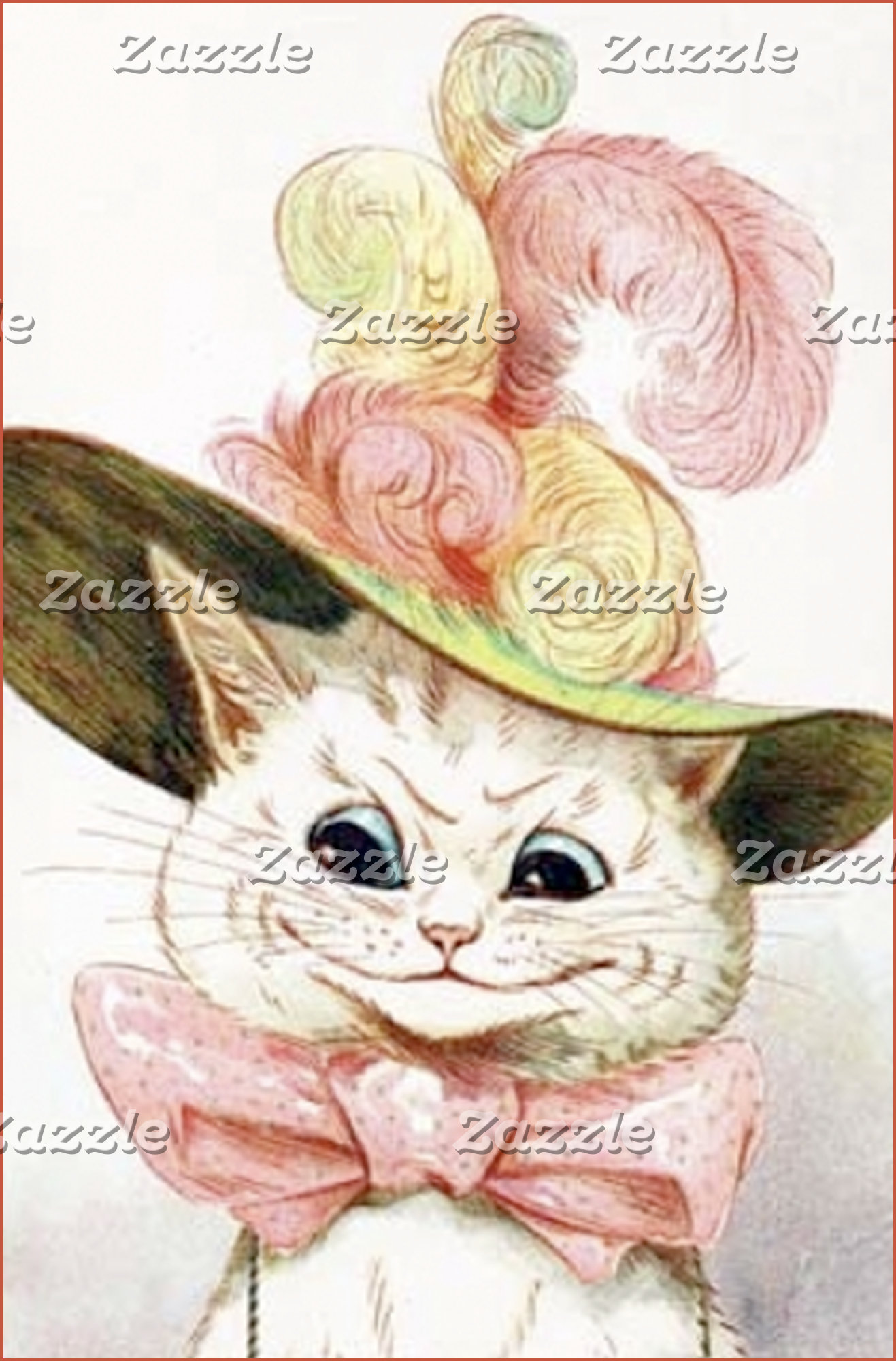 White Cat Pink Bow (Vintage Image)