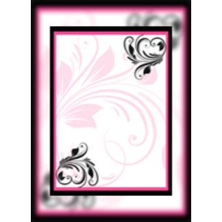 Black and Dark Pink Floral Scroll
