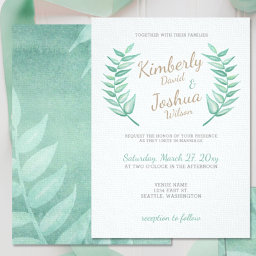 Greenery Laurel Wreath Wedding Invitations