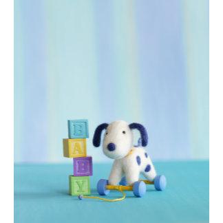 """Felt Dog with Baby Blocks Photo Poster Print"""