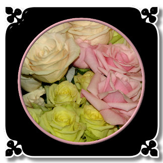 BOUQUET OF PINK/YELLOW/PEACH ROSES