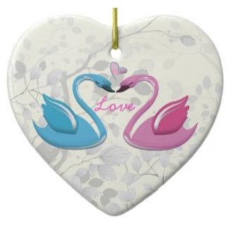 Pink blue swan love heart couple